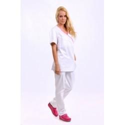 Bela bluza - rozi paspul, V izrez, pantalone